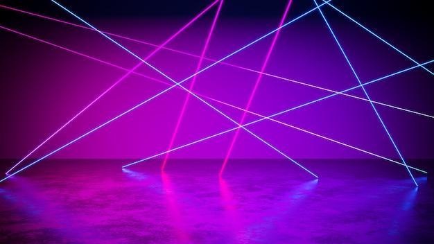 Luz de neón con fondo negro y piso de concreto, ultravioleta, render 3d