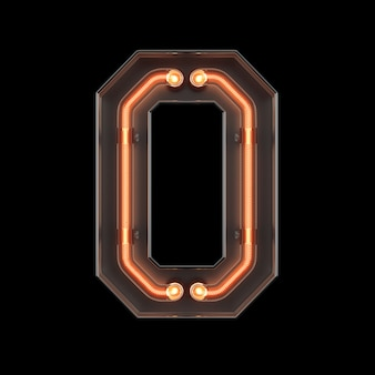 Luz de neón número 0