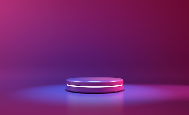 Luz de neón púrpura de la etapa del círculo. fondo futurista abstracto