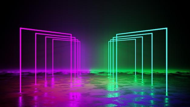 Luz de neón púrpura y verde con blackground y piso de concreto, render 3d