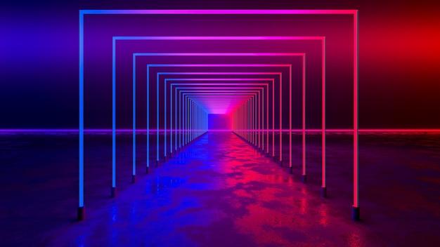 Luz de neón rectangular con fondo negro y piso de concreto, concepto ultravioleta