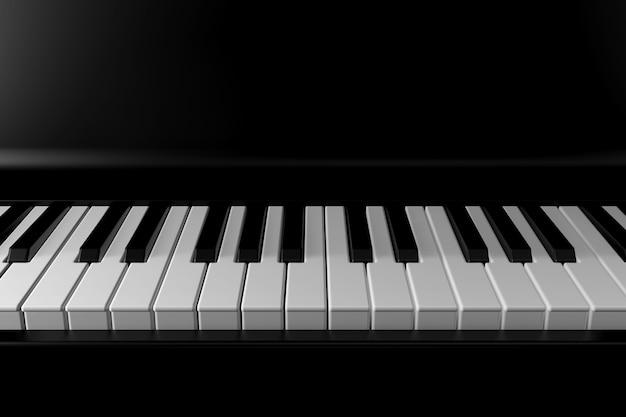 Luz y sombra de piano en la oscuridad.