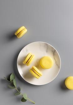 Macarons dulces en plato con rama de eucalipto. concepto de color del año 2021