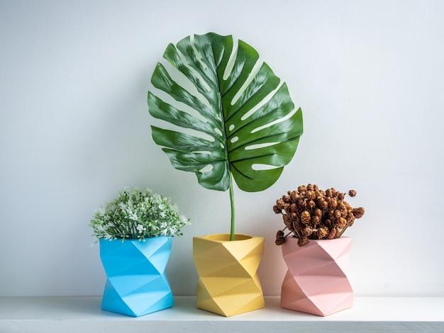 Maceta de cactus. maceta de hormigón. jardinera de hormigón geométrica moderna.