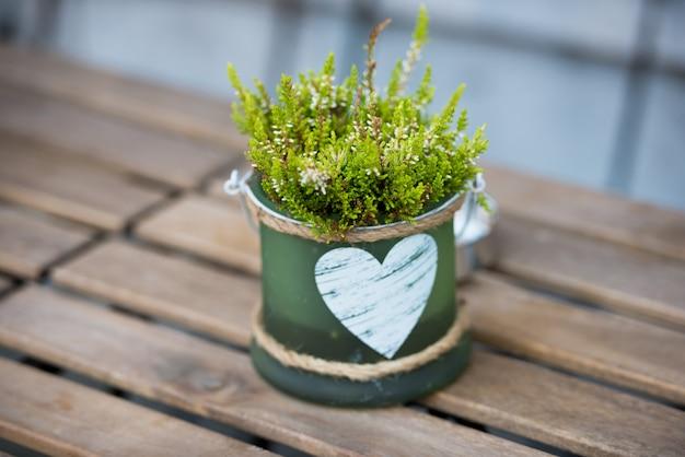 Maceta verde con flores y corazón sobre la mesa en un café