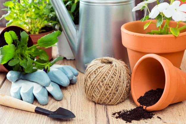 Macetas de alto ángulo y herramientas de jardinería.