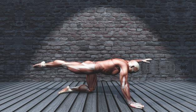 Macho 3d en pose de estiramiento de pierna y brazo en interior grunge