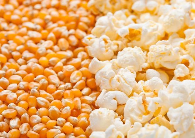 Macro de media placa de semillas de palomitas de maíz y palomitas de maíz crudas