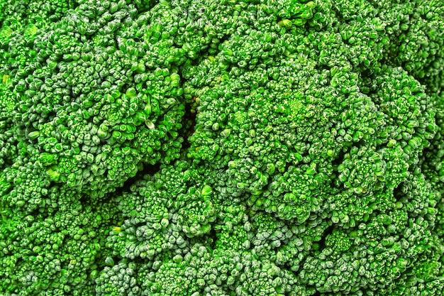 Macro del primer de la col del bróculi. vista superior de brócoli. textura de la macro de brócoli.