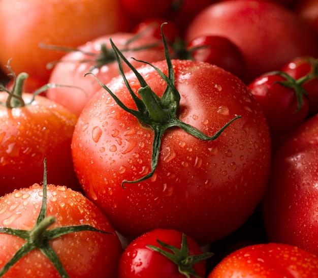 Macro de tomates rojos frescos, nueva cosecha de verduras