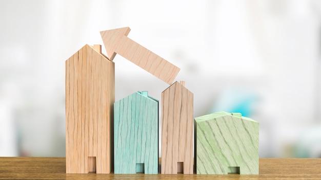 La madera casera en la mesa para la representación 3d del concepto del negocio de la propiedad