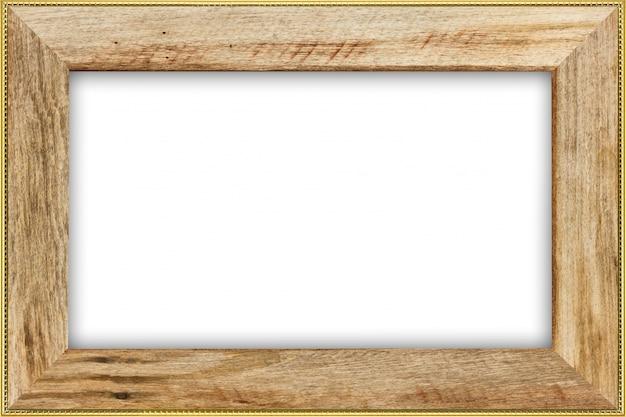Madera clásica del vintage con el marco dorado aislado en el fondo blanco.