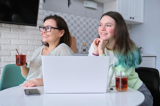Madre e hija en casa en la cocina sentados a la mesa con el portátil, bebiendo té, sonriendo y mirando por la ventana