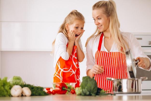 Madre e hija cocinando en la cocina