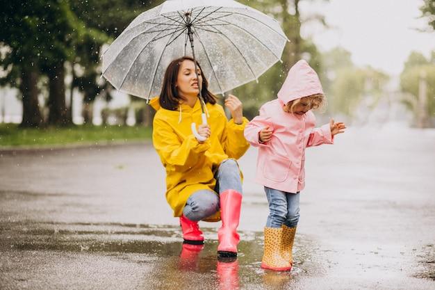 Madre con hija caminando bajo la lluvia bajo el paraguas