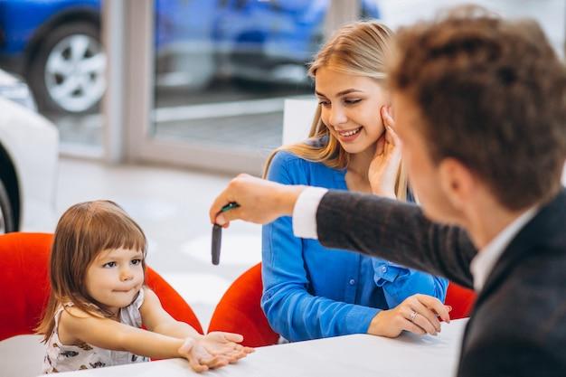 Madre con hija comprando un automóvil en una sala de exposición de automóviles