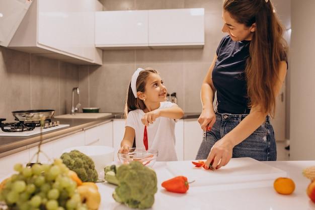 Madre con hija pequeña cocinando juntos en la cocina