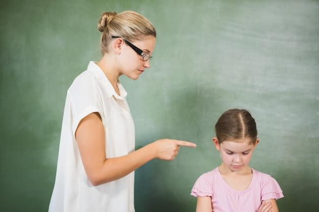 Maestra gritando a niña en el aula