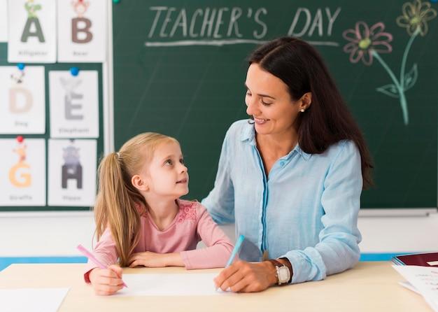 Maestra mirando a su pequeña alumna