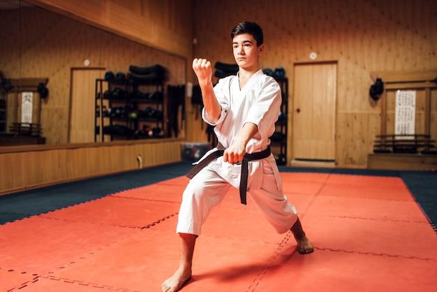 Maestro de artes marciales en entrenamiento de lucha en el gimnasio