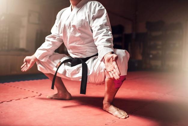 Maestro de artes marciales entrenamiento de meditación en el gimnasio