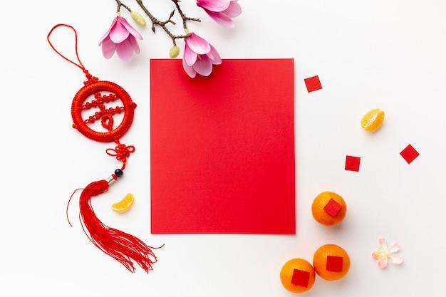 Magnolia y maqueta de tarjeta año nuevo chino