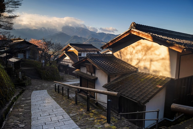 Magome juku con alpes centrales, valle de kiso