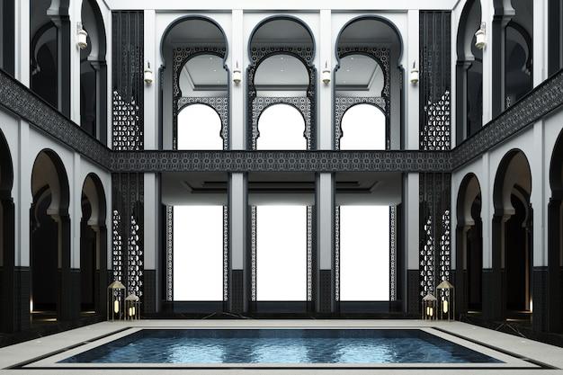 Mainhall marroquí doble espacio con estanque en el centro de la casa 3d rendering