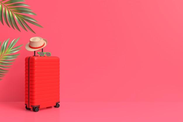 Maleta con accesorios de viajero, artículos de vacaciones esenciales estilo minimalista sobre fondo pastel.