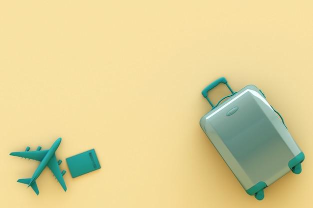 Maleta con accesorios de viajero sobre fondo amarillo pastel. concepto de viaje. representación 3d
