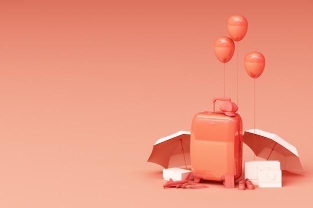 Maleta con accesorios de viajero sobre fondo naranja. concepto de viaje. representación 3d