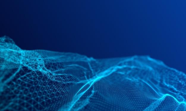 Malla azul digital representativa de conexiones a internet, computación en la nube y red neuronal