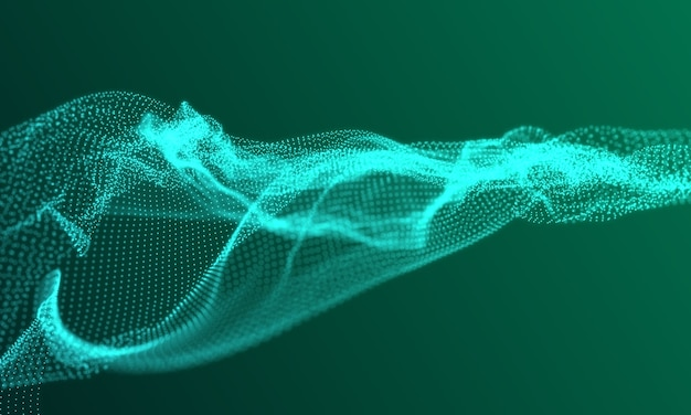 Malla verde digital desenfocada de conexiones a internet, computación en la nube y red neuronal