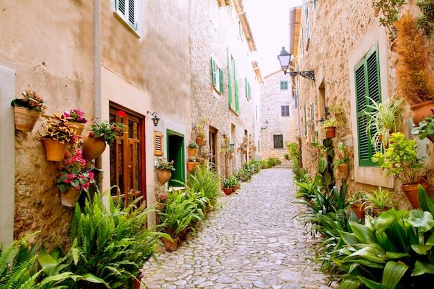 Mallorca valldemossa típica con macetas en fachada.