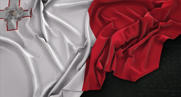 Malta bandera arrugado sobre fondo oscuro 3d render