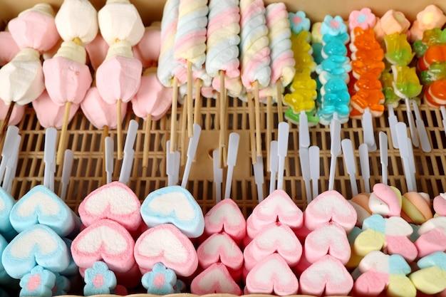 Malvavisco dulce en comida de la calle