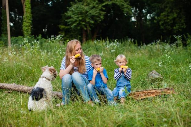 Mamá con dos niños sentados en el bosque en el tronco de un árbol caído y comiendo maíz, fox terrier dof con la familia