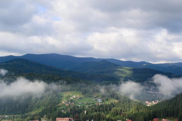 Por la mañana en las montañas, el bosque está cubierto de nubes de niebla.