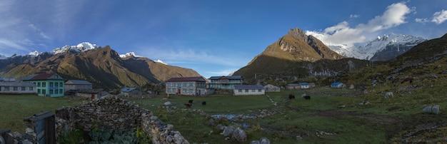 Mañana tranquila en la aldea kyanjin gompa bajo el pico lantang lirung
