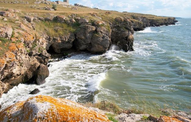 Mañana de verano mar y olas de surf en la costa