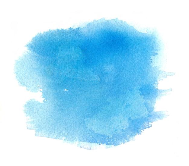 Mancha de acuarela azul claro con trazo de pintura de acuarela, manchas