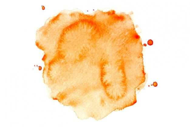 Mancha de acuarela naranja con fondo de pintura de tonos de color