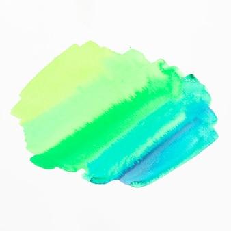 Mancha de acuarela de sombra verde y azul aislada sobre fondo blanco