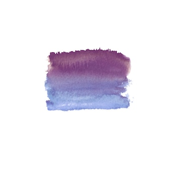 Mancha colorida dibujada mano acuarela abstracta. elemento de diseño de acuarela. fondo de acuarela azul, morado y violeta.