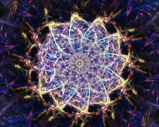 Mandala de arte fractal y colores oscuros fríos