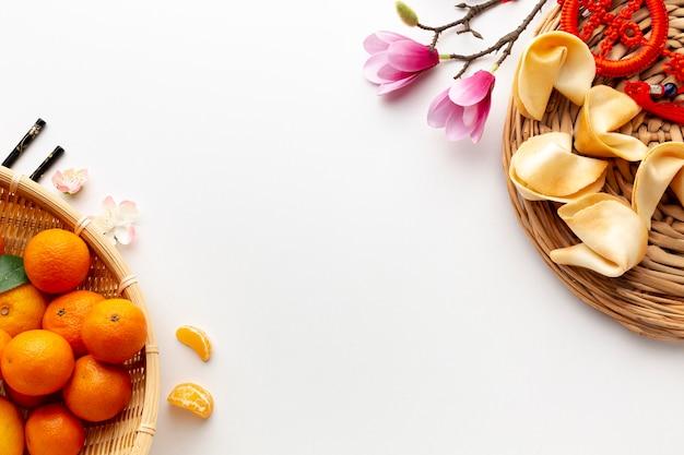 Mandarinas y galletas de la fortuna año nuevo chino