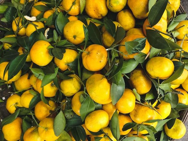 Mandarinas naranjas con hojas aéreas