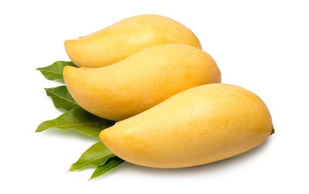 Mango dulce dorado aislado sobre fondo blanco.mango barracuda.