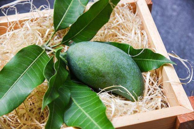 Mango verde fresco y hojas verdes en la madera