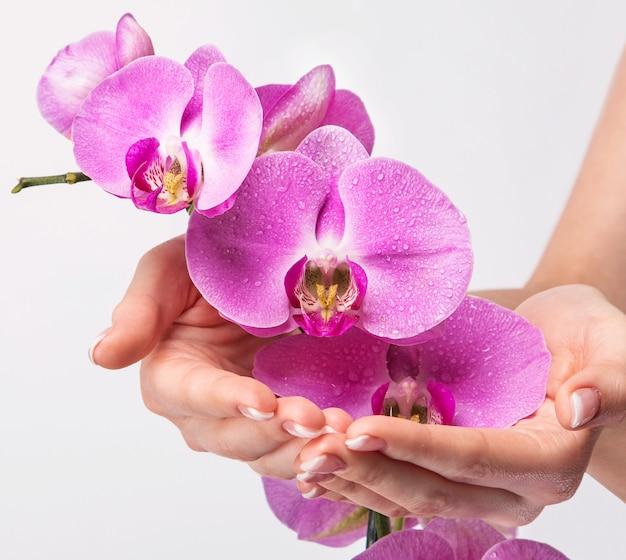 Manicura francesa y flor de orquídea